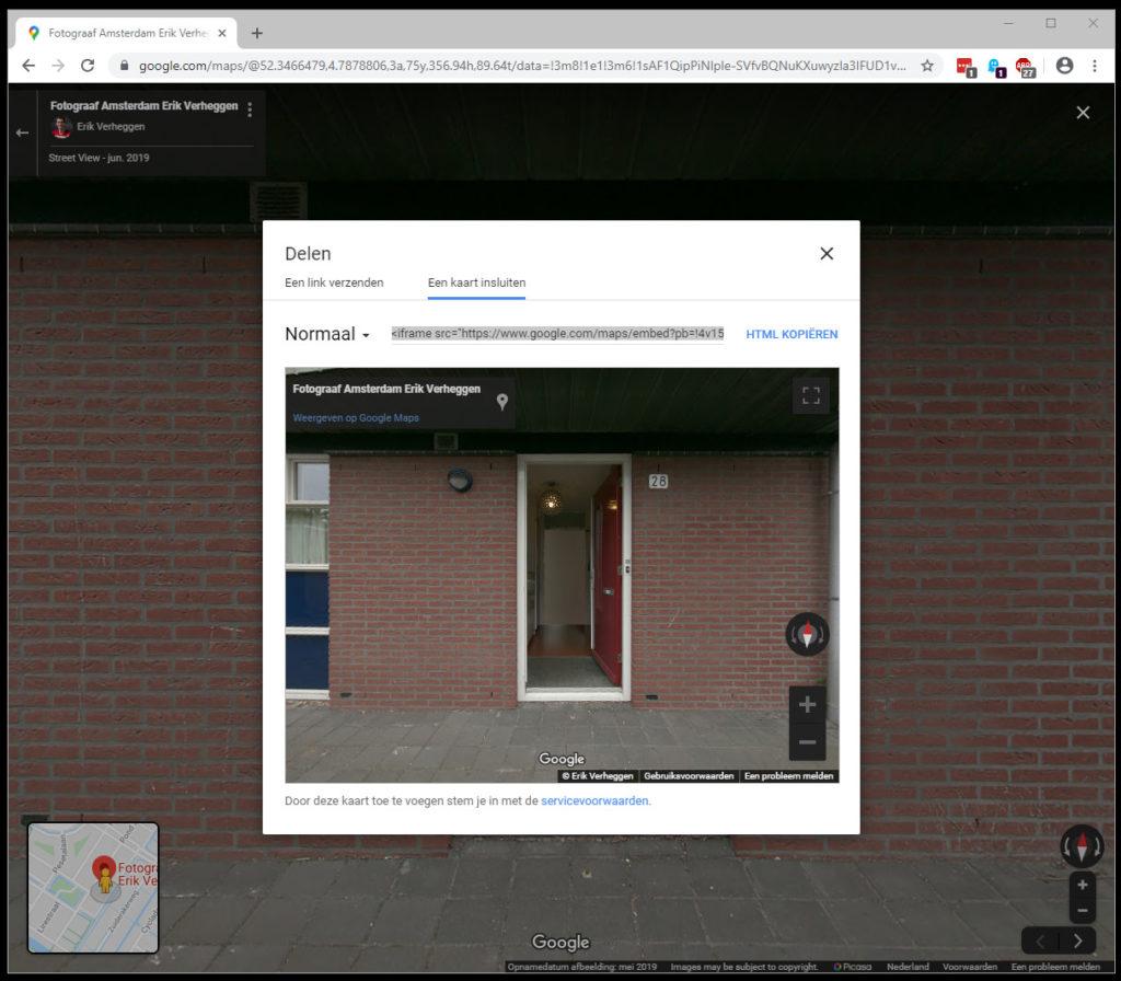 Google Street View plaatsen op eigen website